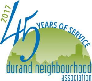 The Durand Neighbourhood Association 45th anniversary logo